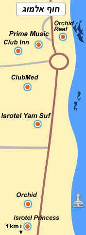 Карта отелей Эйлата