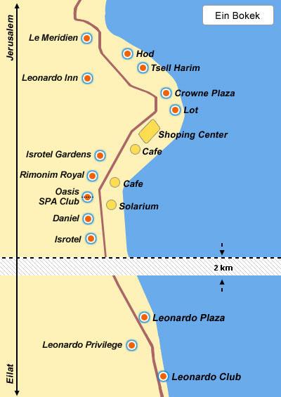 מפת מלונות בים המלח