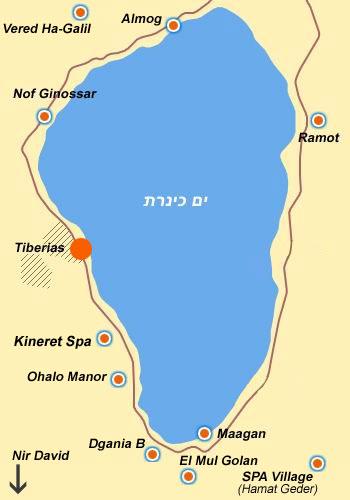 карта расположения отелей в Тверии