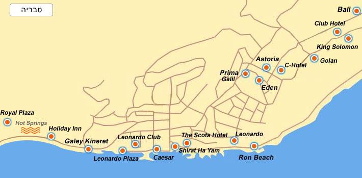 карта расположения гостиниц в Тверии