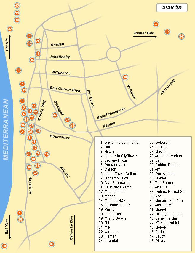 Карта Тель-Авива и центра страны